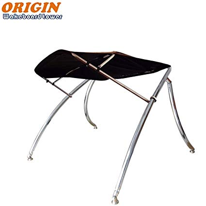 Origin advancer polished wakeboard tower plus foldable bimini-black canopy