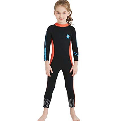 DIVE & SAIL Kids Wetsuit Full Body Swimsuit 2.5mm Neoprene UV Protective Swimwear for Diving Surfing Snorkeling 3-9 Years