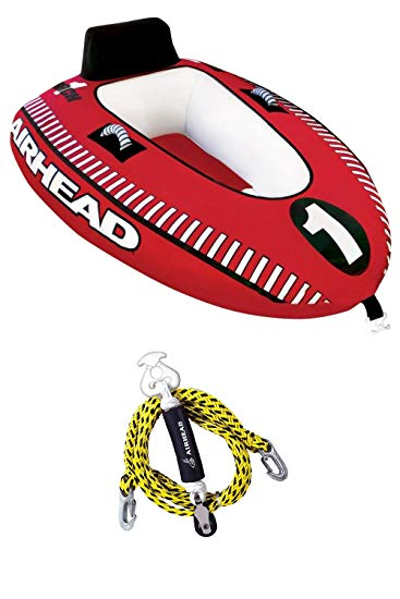 Airhead Mach 1 Single Rider Inflatable Boat Towable Tube + Tow Harness | AHM1-1